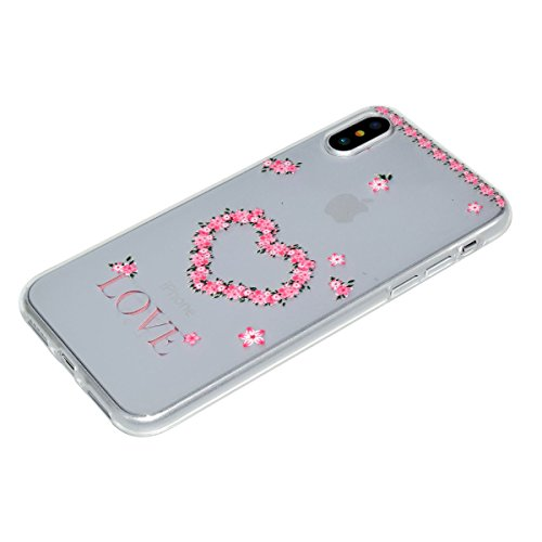 Custodia Cover iPhone X Transparente iPhone X Case, JAWSEU Creativo Disegno Antiurto Corpeture Cristallo Chiaro Case per iPhone X Super Sottile Case Custodia Cover per iPhone X Protettiva Shock-Absorp Amore Flores