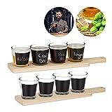 2x Beer Tasting Set, je 4 Gläser für Bierprobe, beschreibbares Verkostungsglas, je 200 ml, Servierbrett Holz, natur