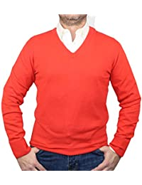 Pull 100% Cachemire col V 1st American - Pull Homme Manches Longues - Tricot d'hiver Pure Cachemire