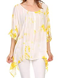 Sakkas Wayl Long Tall Wide Lace Embroidered Tie Dye Square Boxy Poncho Top Blouse