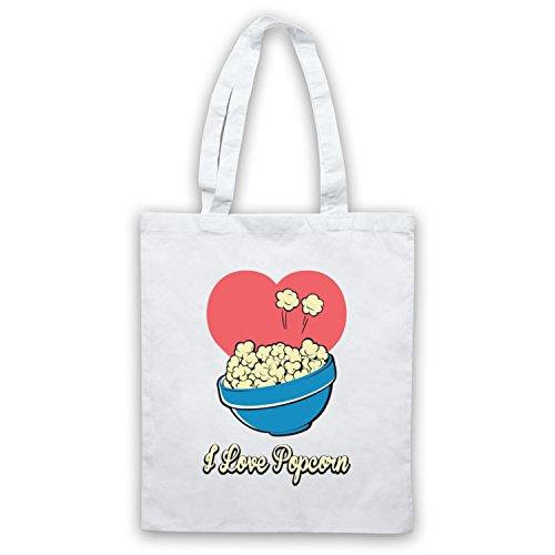 I Love Popcorn Slogan Style Umhangetaschen Weis