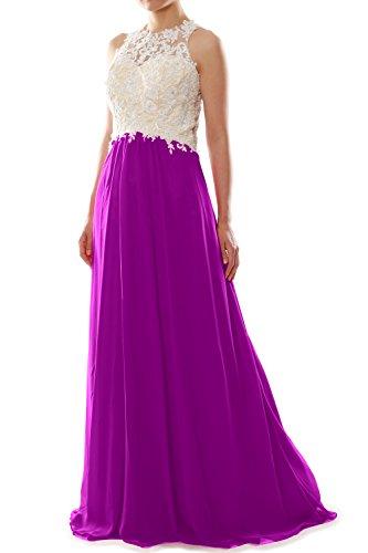 MACloth Women High Neck Lace Chiffon Long Prom Dress Formal Party Ball Gown Fuchsia