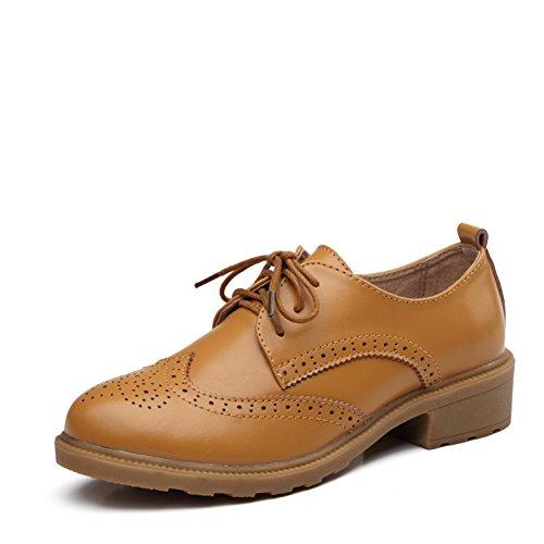 Chaussures féminine à la britannique/Chaussures Casual/Chaussures plates/Chaussures en cuir véritable/Chaussures vintage pour les femmes/Chaussures Oxford Student B