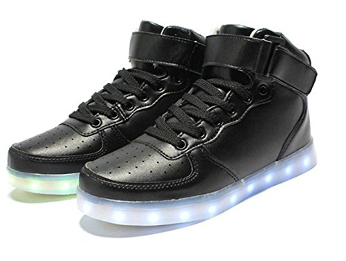 [Présents:petite serviette]JUNGLEST® LED Basket Sneaker Chaussure Lumière Changeable 7 Couleur Mode Montant Mixte Adulte Homme Femme Clignontant Lumineux Tennis Sport USB Noir