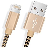 Cargador iPhone Froggen Cable iPhone [3Pack 1.5M] Nylon Cable de Carga Rápida Amplia Compatibilidad iPhone X/8/8Plus/7/7Plus/6S/6S Plus/6/6Plus/SE/5S/5C/5,iPad/Air/mini2/3/4th Gen/Touch(Oro Negro)