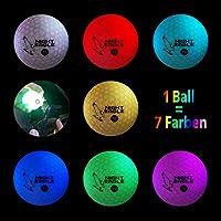Night Eagle 6 Golfbälle Bunt Light-Up 7c LED - Nachtgolf leuchtet in 7 Farben Rot Blau Grün Gelb Lila Weiß Golf Geschenk
