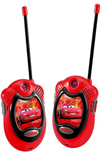 Disney lexibook tw06dc - walkie-talkie cars, 2 pezzi, portata fino a 100 m, clip per cintura, plastica, design lightning mcqueen, rosso/nero