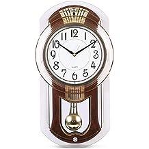 WJXBoos Carillones de Westminster Reloj de péndulo, Reloj de Pared silencioso con Hacer pivotar péndulo