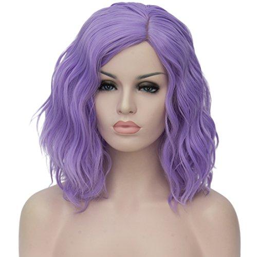 ATAYOU® Soft Touch Kurze Lockige Cosplay Perücken Für Frauen Halloween Party Phantasie Dressing Mit 1 Gratis Perücke Kappe (Lila)