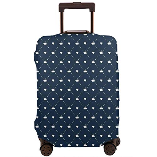 Travel Luggage Cover,Checkered Girlish with Dotted Lines Little Hearts and Tiaras Suitcase Protector -