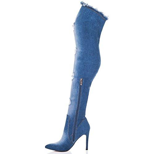 SPYLOVEBUY POSE Femmes à Talon Aiguille Bottes Cuissardes Bleu - Denim