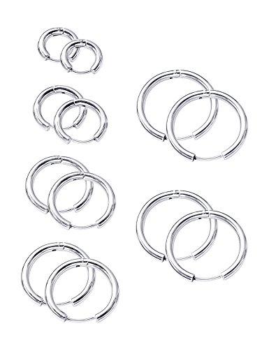 12 Stück Hoop Ohrringe Edelstahl Huggie Ohrring für Knorpel Nase Lippe (Piercing Ohrringe 1mm)