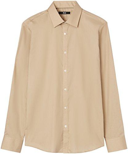 T-shirts camicia slim fit in cotone uomo, marrone (caramel 513), large (taglia produttore: 16.5)