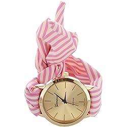 Reloj de pulsera - GENEVA reloj de pulsera de banda de bufanda de puntos de raya roja de rosa para mujeres