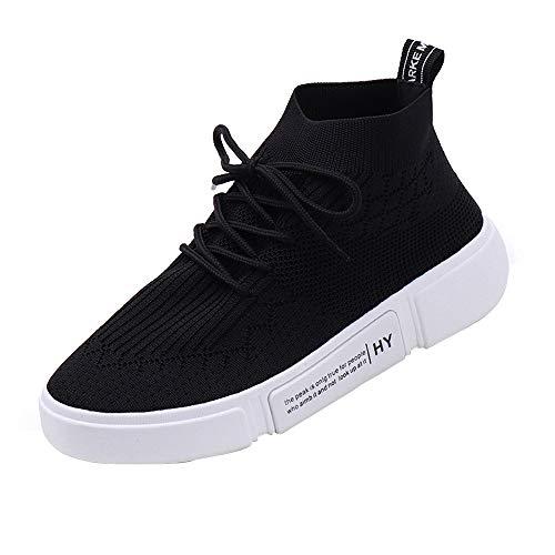 VJGOAL Damen Freizeitschuhe, Damen Mädchen Mesh Atmungsaktive Runde Toe Lace-up Sneakers beiläufige laufende Sport Breathable Segeltuch-Schuhe (Schwarz, 36 EU)