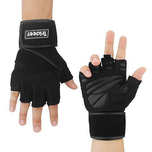 """Trideer Fitness Handschuhe Trainingshandschuhe mit 18""""(45,7cm) Lange Adjustable Handgelenkstütze und Silica Gel Grip für Gewichtheben..."""