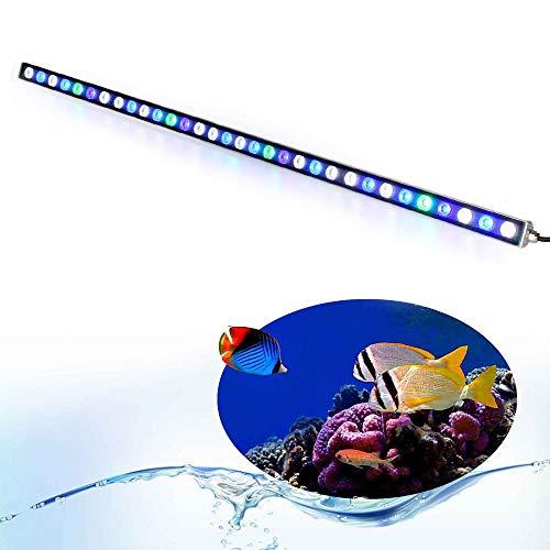 Roleadro Led Acuario,Luz Acuario con Lampara UV Acuario Impermeable IP 65,Iluminacion Acuario para Acuario Arrecife Coral Pescado Planta Crecer (108W)
