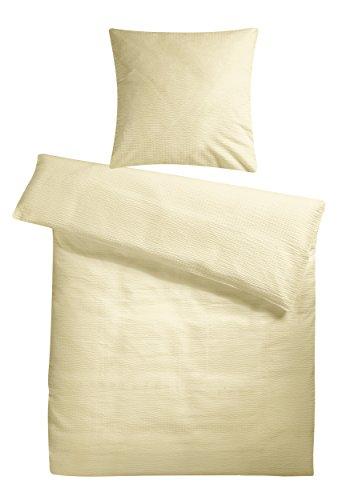 Leichtes Seersucker Bettwäsche Set 135 x 200 cm Creme – atmungsaktiver Bettdecken- und Kopfkissen-Bezug aus reiner Baumwolle mit Reißverschluss – 2 tlg. kühle Sommerbettwäsche Premium-Qualität (Bettbezug Vollständige)
