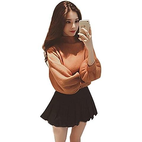 Moda mujeres Spritech™ myler básicas de punto suéter xtrafitness-camisa manga de soplo, chocolate, talla