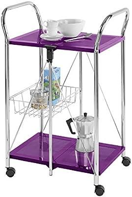 WENKO 900040100 Carro de cocina Sunny Lila - plegable, Metal recubrimiento de polvo, 56.5 x 90.5 x 44 cm, Lila