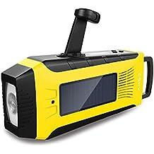 Esky Radio solaire d'urgence, radio de charge solaire à manivelle radio d'AM/FM/NOAA, batterie rechargeable de 2000mAh, lampe-torche de 3W, alarme de SOS pour la variété des situations d'urgence