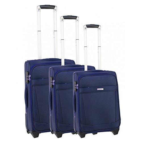 Set de 3 valises chariot lisbonne bleu
