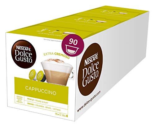 NESCAFÉ Dolce Gusto Cappuccino XXL-Vorratsbox (90 Kapseln, 100{c1e3439c2902775e28b555e2ebe620069fa970438b21d64af9bbb59828240e80} Arabica Bohnen, leichter Kaffeegenuss mit cremigem Milchschaum) 3er Pack (3 x 30 Kapseln)