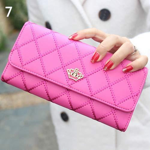 AchidistviQ, pochette da donna in finto cuoio, con decorazione trapuntata e corona, portafoglio a borsetta, Rose Red