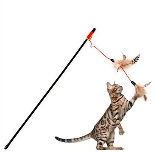 Laser Toy Pet (1Niedliches Hochwertige Pet Kitten Cat Teaser Interaktive Spielzeuge Stick Zauberstab, Angelrute Katze Spielzeug mit Glocke und Feder)