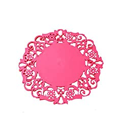 TBOP KITCHENWARE THE BEST OF PLANET SIMPLE & STYLISH Insulation Pad Thermal Pad Creative Cup Cushion Pot Pad Cushion Coaster Cup Pad & its size is 20 in pink color