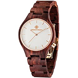 Unisex Wooden Wrist Watches 40mm Wood Case Handmade Real Red Sandalwood Watch Miyota Quartz Display