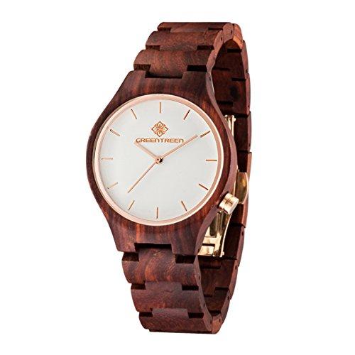 Unisex Erwachsener Hlzerne Uhr Handgemacht Sandelholz Armbanduhr Mit Japanischer Quarzwerk 40mm Uhrengehuse