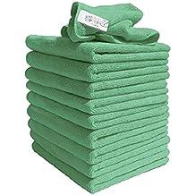 Exel GCC0030-G Robert Scott and Sons Microfiber Cleaning Cloths, 40 x 40 cm - Green