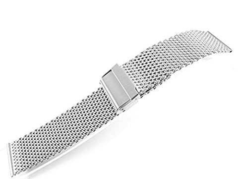 20mm Stainless Steel Watch Mesh Bracelet Wristband 1.0mm Wire silver black gold rose gold titanium (Polishing Silver)