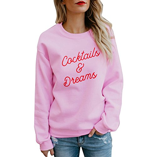 Women Cocktails Dream Letters Printed Long Sleeve Pullover Casual T-Shirt Ladies Blouse Tops T-Shirt