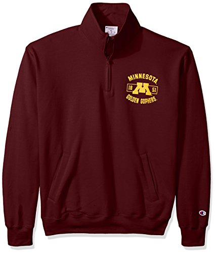 Champion NCAA Herren Fleece-Jacke Minnesota Golden Gophers Power Blend Quarter Zip Jacke, Größe M, Kastanienbraun -