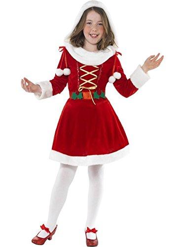 Miss Santa Kinder Kostüm (Smiffys, Kinder Mädchen Miss Santa Kostüm, Kleid, Größe: M,)
