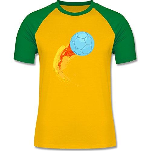 Shirtracer Handball - Burning Ball - Herren Baseball Shirt Gelb/Grün