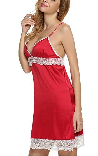 Ekouaer Robe De Nuit En Satin Elégante Nuisette Femme Sans Manches Taille 36-52 Rouge