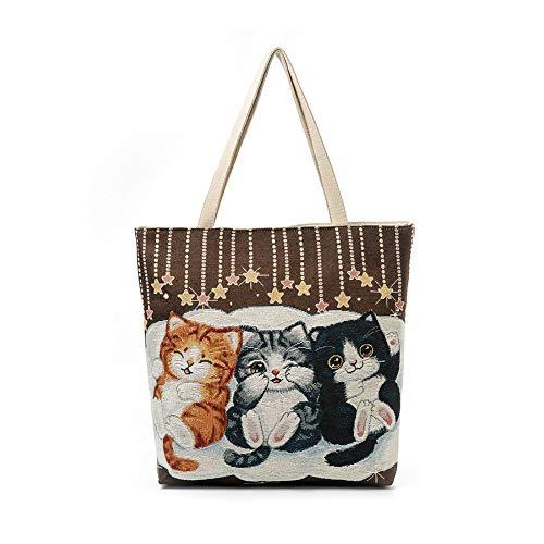 Scrox Damen Handtasche, Niedliche Katze, Bestickt, Einkaufstasche, Polyester, umweltfreundlich, Strandtasche, tragbar, As Shown1, 35 * 10 * 40cm