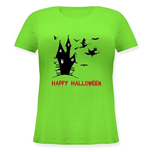Halloween - Happy Halloween Hexen Haus - S (44) - Hellgrün - JHK601 - Lockeres Damen-Shirt in großen Größen mit Rundhalsausschnitt