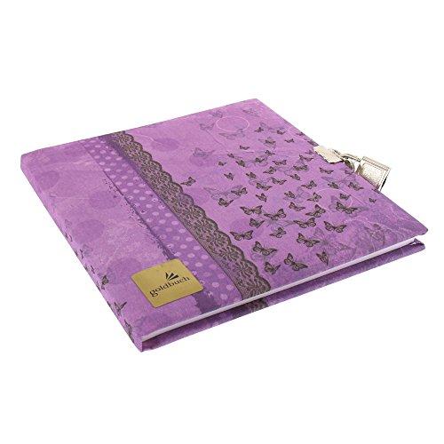 Goldbuch Tagebuch, Collage Schmetterling, 96 weiße Seiten, 16,5 x 16,5 cm, Schloss mit 2 Schlüsseln, Leinen, Lila, 44115 (Tagebuch Lila)