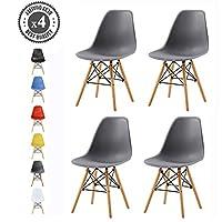mcc direct Set of 4 Modern Design Dining Chairs Eiffel Retro Lounge Chairs, LIA (Grey)