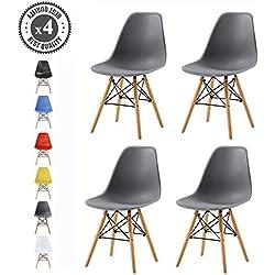 Lot de 4 chaises au Design Moderne de Style scandinave, Lia par MCC (Gris)