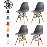 mcc direct Set of 4 Modern Design Dining Chairs Eiffel Retro Lounge Chairs, LIA (Grey)