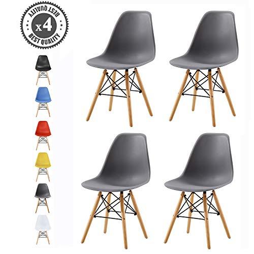 MCC® Retro Design Stühle LIA im 4er Set, Eiffelturm inspirierter Style für Küche, Büro, Lounge, Konferenzzimmer etc, 6 Farben, Kult (grau)