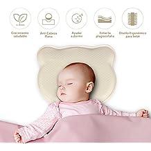 Homvik Almohada Bebé para Plagiocefalia Cojín para Anti Cabeza Plana Almohada Viscoelastica para Bebé Recien Nacido 0~12 Meses con Funda Lavable y Diseno Ergonómico - Amarillo