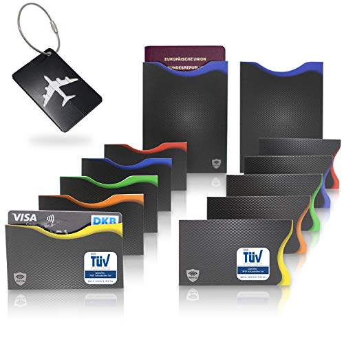 Amazy RFID & NFC Schutzhüllen (12 Stück) inkl. Kofferanhänger – TÜV-geprüft – 100% Schutz vor Identitäts- und Datendiebstahl – Extra-robuste Hüllen für Kreditkarten, EC-Karten, Ausweise und Reisepass