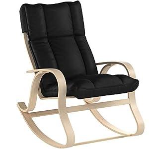 SONGMICS Schaukelstuhl aus Birkenholz, Relaxstuhl mit gepolstertem Sitzkissen, für Wohnzimmer, Balkon, Bezug aus…