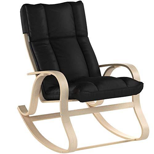 SONGMICS Schaukelstuhl aus Birkenholz, Relaxstuhl mit gepolstertem Sitzkissen, für Wohnzimmer, Balkon, Bezug aus Kunstleder, einfache...